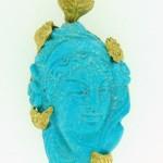 Ciondolo artigianale volto turchese naturale in oro giallo floreale etrusco orafo Arnone Gionatan Pescara (Copy)
