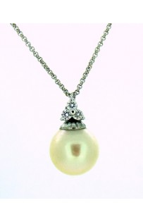 Collana perla di Mare mm 9.5/10 con Diamanti tot. ct 0.10 cod.005861