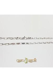 Collana Argento Rodiato Rettangolare mm 3,50 - cm 50/55